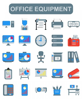 Iconos de equipos de oficina en estilo plano