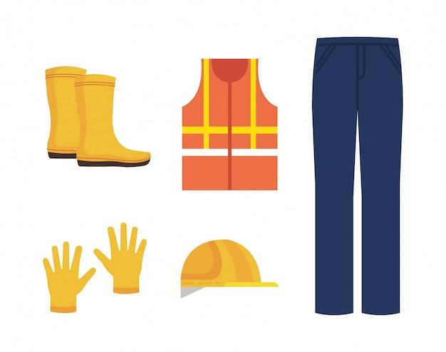 Iconos de equipos de seguridad industrial.
