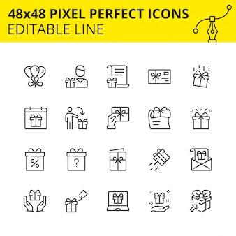 Iconos a escala de cajas de regalo y sorpresa.