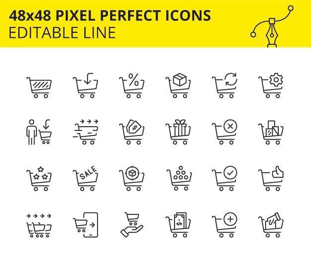 Iconos a escala para carrito de compras y comercio