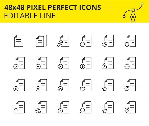 Iconos escalados de archivos, flujo de documentos e interacción