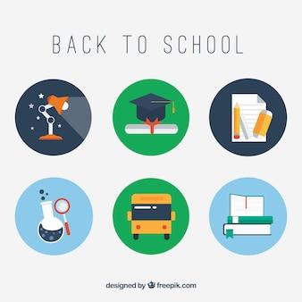 Iconos escolares de vuelta al colegio vector gratuito