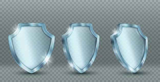 Iconos de escudo de cristal transparente