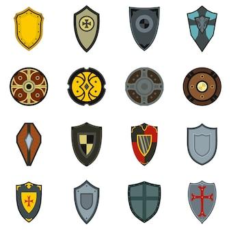 Iconos de escudos establecidos en estilo plano