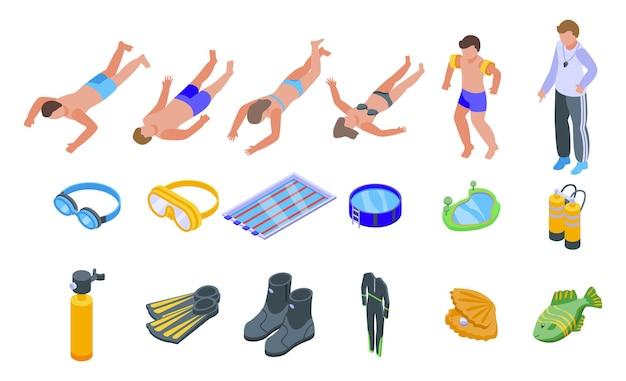 Los iconos de la escuela de buceo establecen vector isométrico. playa activa