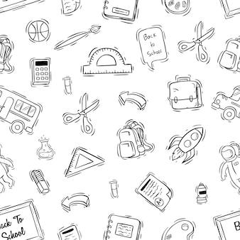 Iconos de escuela lindo en patrones sin fisuras con estilo dibujado a mano