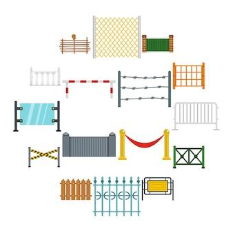 Iconos de esgrima en estilo plano