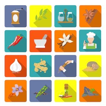 Iconos de especias planas