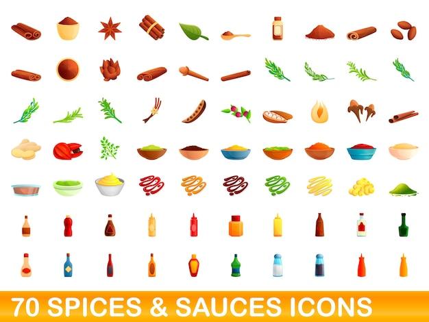 Iconos de especias y salsas. ilustración de dibujos animados de 70 iconos de especias y salsas en fondo blanco