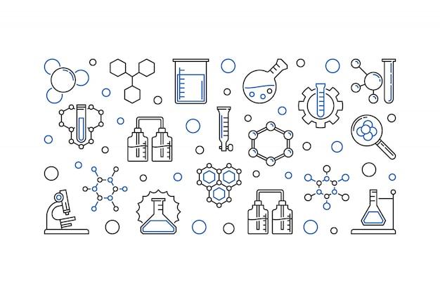 Iconos de esquema de esquema de educación y química