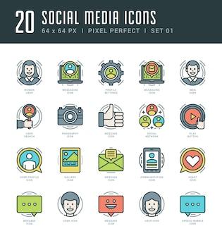 Los iconos de esquema establecen el perfil de usuario de símbolos de redes sociales