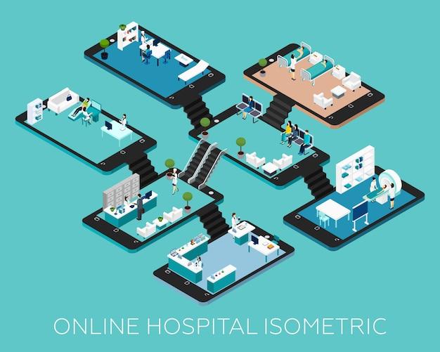 Iconos de esquema isométrico de hospital en línea
