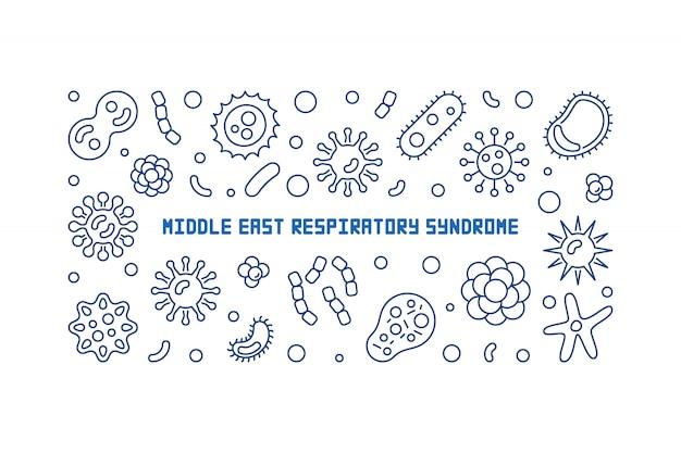 Iconos de esquema del síndrome respiratorio de medio oriente