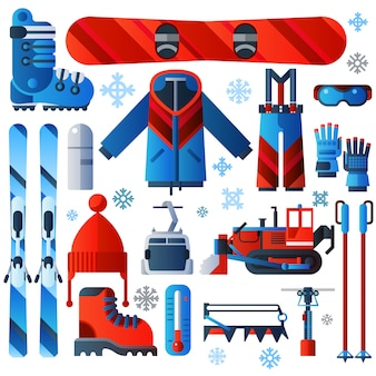 Iconos de esquí de color plano aislado