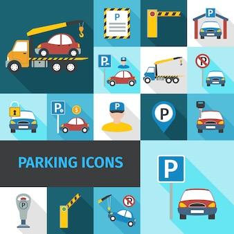 Iconos de estacionamiento plano