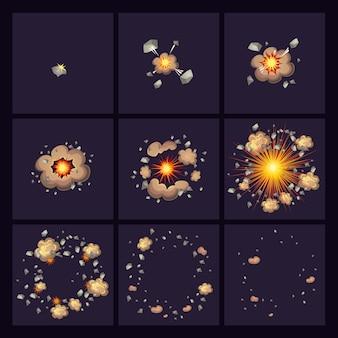 Iconos de estilo cómico de explosiones