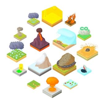Iconos en estilo de dibujos animados. establecer ilustración de colección