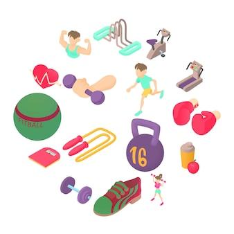 Iconos en estilo isométrico 3d. establecer ilustración de colección