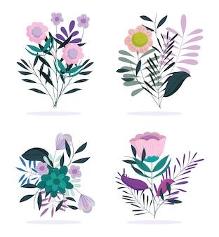 Iconos de estilo de naturaleza de follaje de flores