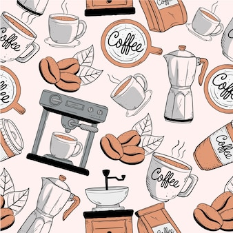 Iconos de estilo de patrón de doodle de café