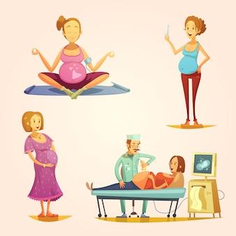 Los iconos de estilo retro del embarazo en forma cuadrada con el examen de ultrasonido y el resultado de la tira reactiva