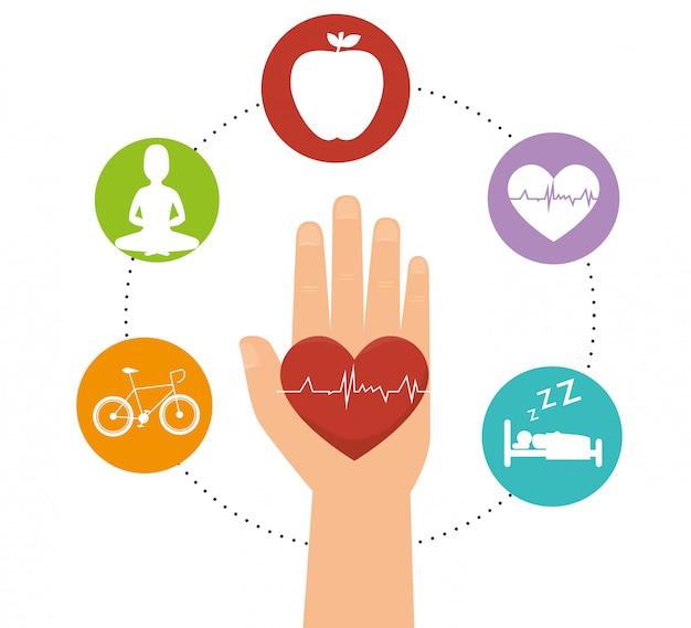 Iconos de estilo de vida saludable de bienestar