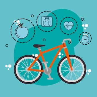 Iconos de estilo de vida saludable y deportes