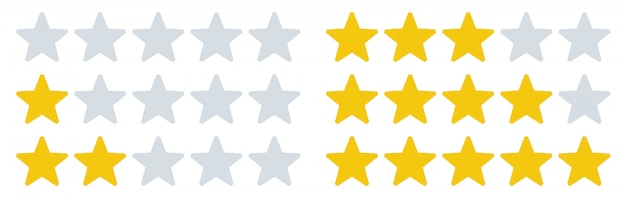 Iconos de estrellas de calificación. tasas de estrellas, valoraciones de comentarios y revisión de tasas. conjunto de ilustración de cinco estrellas