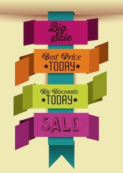 Iconos y etiquetas de gran venta