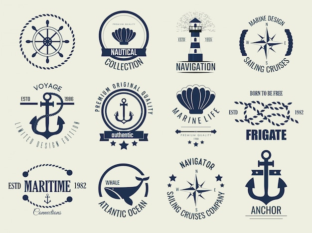 Iconos y etiquetas náuticas vintage.