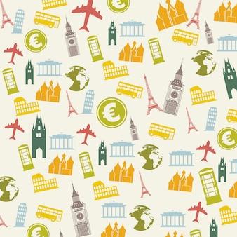 Iconos de europa sobre fondo beige ilustración vectorial