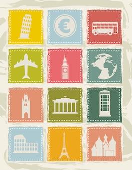Iconos de europa sobre fondo grunge ilustración vectorial