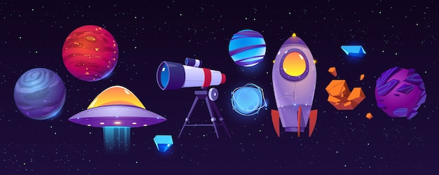 Iconos de exploración espacial, planetas, cohetes o lanzaderas, telescopio, ovni alienígena con asteroide en el oscuro cielo estrellado.