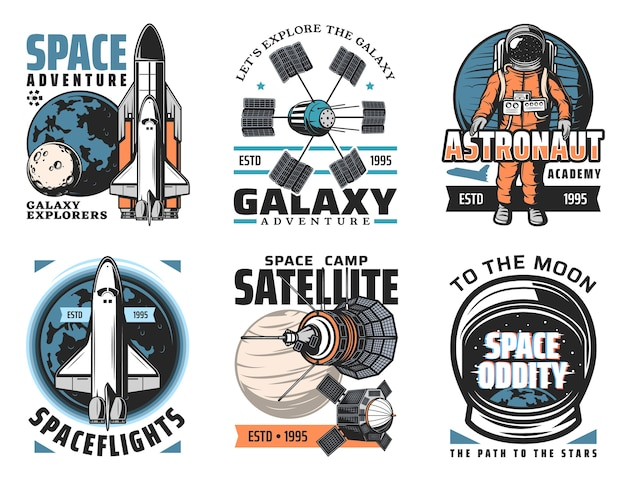 Iconos de exploración de espacio y planetas. vehículo de lanzamiento de lanzadera y orbitador con placas del sistema solar, satélites artificiales y telescopios orbitales, ilustraciones retro de astronauta en traje espacial