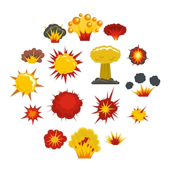 Iconos de explosión en estilo plano
