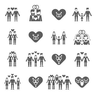 Iconos familiares no tradicionales establecidos en negro