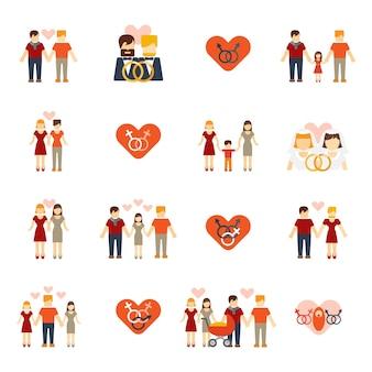 Iconos familiares no tradicionales fijados planos