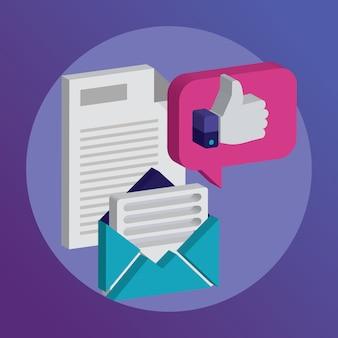 Iconos para faq newsletter apoyo contacto vector ilustración.