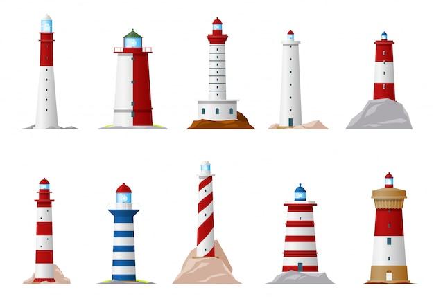 Iconos de faro náutico y baliza de navegación