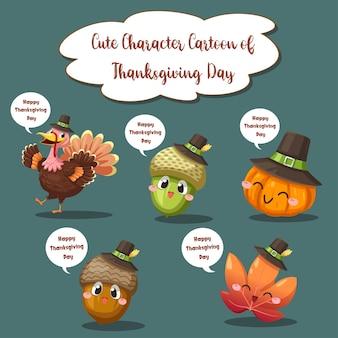 Iconos de feliz día de acción de gracias con bayas, nueces, hojas y piñas secas.