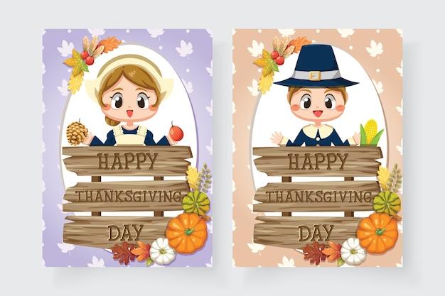 Iconos de feliz día de acción de gracias con niñas y letreros de madera variada.