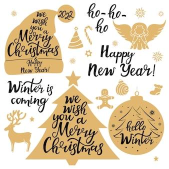 Iconos de feliz navidad. año nuevo 2022. conjunto de letras festivas.