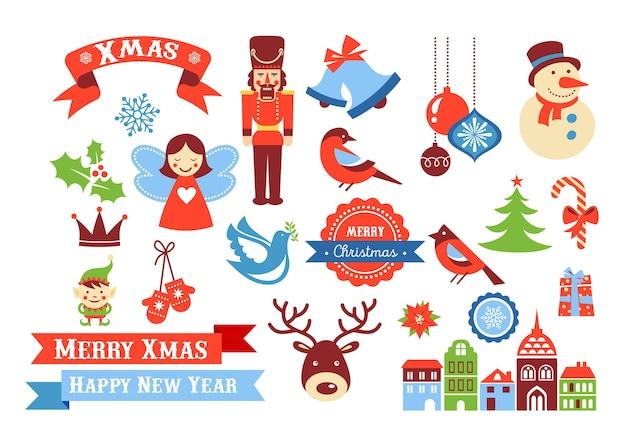 Iconos de feliz navidad, elementos de estilo retro y etiquetas y etiquetas de venta