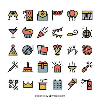Iconos de fiesta coloridos