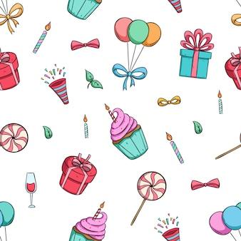Iconos de fiesta de cumpleaños lindo en patrones sin fisuras con estilo dibujado a mano colorido
