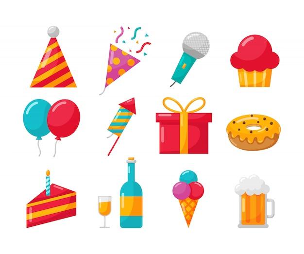 Iconos de fiesta feliz cumpleaños en blanco