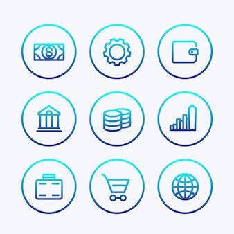 Iconos de finanzas, tarifa, recompensa, ingresos, ahorros, banca, conjunto de líneas gruesas