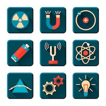 Iconos de física en el estilo de diseño plano