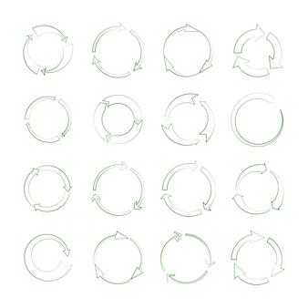 Iconos de flecha de reciclaje de línea