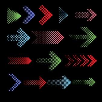 Iconos de flechas punteadas de colores con efecto de semitono.